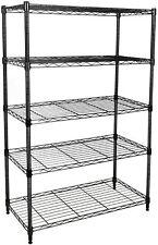"""Simple Deluxe Heavy Duty 5-Shelf Shelving Unit, 29"""" D x 14"""" W x 61"""" H, Black"""