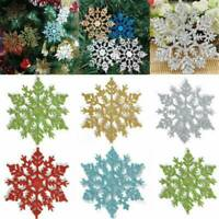 12PCS Glitter Snowflake Christmas Ornaments Xmas Tree Hanging DIY Home Decor Kit