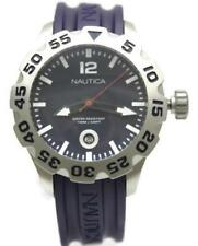 New Nautica BFD 100 Diver Dark Purple Rubber Date Men Watch 50mm N14601G $145