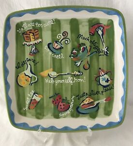 """Becky Denny Southerner Serving Platter Southern Sayings Square 11"""""""