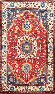 2'x3' Super Kazak RED/ IVORY Vegetable Dye Oriental Area Rug Hand-knotted Floral
