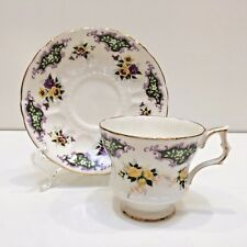Royal Windsor Bone China Teacup & Saucer England Yellow/Purple Pansies Scalloped