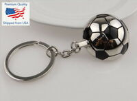 Keychain Soccer Ball Silver Black Metal Football Key Chain Car Pendant Key Ring