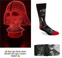 Epic 3pc Star Wars Darth Vader Bundle! Includes 3D Night Light, Socks, & Wallet!