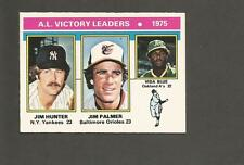 1976 Topps OPC #200 Jim Palmer Catfish Hunter AL Leaders Yankees Orioles A's