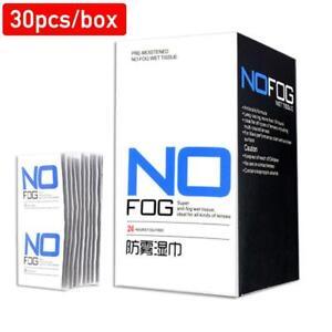 30pcs/box Reusable Anti-Fog Wipes Glasses Pre-moistened Anti-fog Lens Cloth