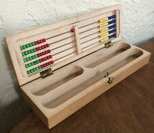 Vintage Wooden Pencil Storage Box Holder W/Counting Beads Farm Animals