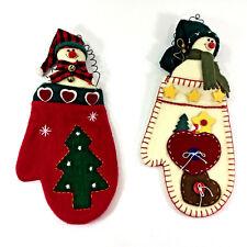 Christmas Snowman Tree Ornaments  Fabric Mitten Pair Wall Decor Hanger