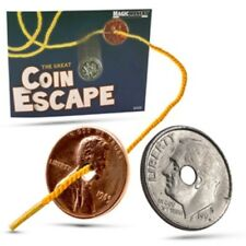 Coin Escape - The Great Coin Escape - One Coin is Plucked Off A Cord Like Magic!