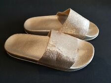 Size 4 (37) gold glitter slides chunky sole slip on sandals mules