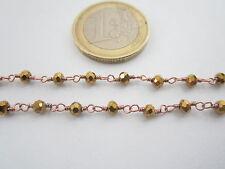 1 metro catenina rosario color rosè concatenata cristallo color oro  3,5 mm