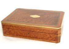 Coffret boîte à jeu loupe amboine bois rose laiton Napoléon III XIXè siècle