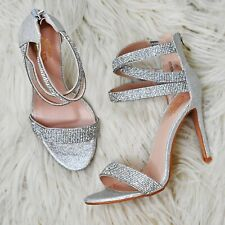 Women Diamante Strappy Sandals Stiletto High Heel Party Evening Dress Shoes Size