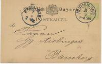 BAYERN GANZSACHEN 1879 3 Pf PRIVAT-GA LEBKUCHEN Vertreter-Avis von F.G. METZGER