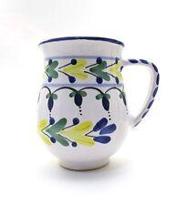 Blue White & Yellow Italian Ceramic Creamer Pitcher ~ 8 oz