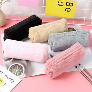 Makeup Fluffy Plush Pencil Case Coin Purse Pouch Zipper Storage Bag Accessories