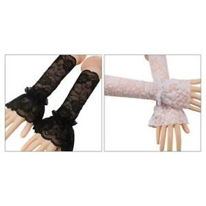 Single Layer Ruffle Fingerless Gloves Floral Lace Wedding Arm Warmer Fake Sleeve