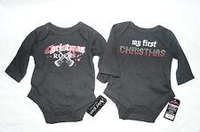 Baby Creeper Bodysuit SET of 2 black glam My First Christmas & Rocks newborn NEW