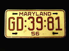1956 Maryland License Plate Md Red & White GD:39:81