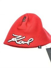 Karl Lagerfeld Authentic Red Black White Beanie Hat Warm Winter Accessory New