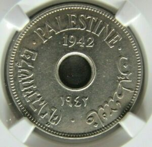 Palestine KM4 10 Mils 1942 copper-nickel, NGC AU 58
