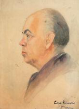 Vintage watercolor painting portrait signed