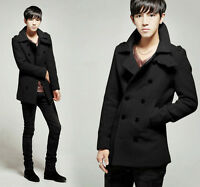 Fashion Men Slim Fit Double-breasted Wool Blend Trench Coat Long Jacket Overcoat