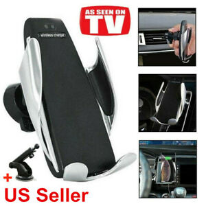Fast Charging Wireless Car Charger Automatic Sensor Clamping Phone Holder Mount