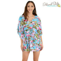 Ladies Poncho Blue Flamingo Floral Beach Cover