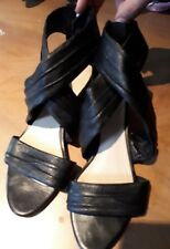 Beautiful ladies soft black leather strappy sandals, 37.5, or 6.5, with zips
