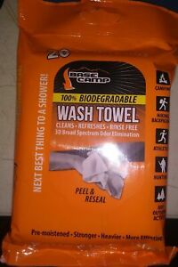 New! Base Camp Wash Cloths 20 Biodegradable Pre-Moistened Towels. FREE Ship!