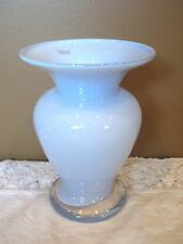 "POLAND GLASS VASE Polish Light Opaque Lavender Color & Clear Base 6-1/4"""