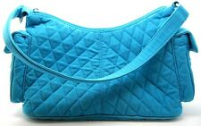 Vera Bradley TURQUOISE Microfiber Quilted Hobo Shoulder Bag Pre-Owned
