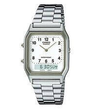 Casio AQ230A-7B Men's Silver Tone Metal Band Analog Digital Dual Time Watch