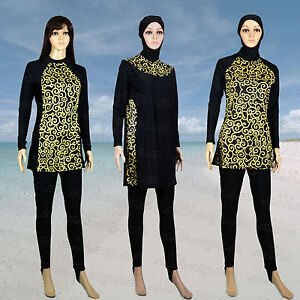Full Cover Modest Womens Burkini Swimwear Swimsuit Muslim Islamic Burqini