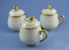 Limoges Porcelain Pot de Creme Set of 3 Cups / Lids Gold & White