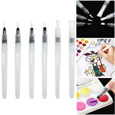 6×Water Brush Ink Pens Refillable Artist Pen Set Watercolor Painting Calligraphy
