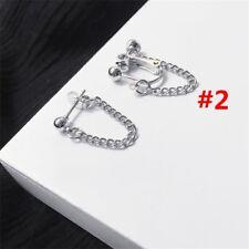 Women Long Tassel Clip on Silver Earrings Chain Lady Ear Stud Punk Style2017 2