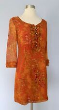 Beth Bowley Silk Dress, Orange Red Print, Ruffles, 3/4 Sleeve, Lined, Size 2