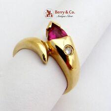 Estate Stylized Snake Ring Synthetic Ruby Diamond 14 K Gold