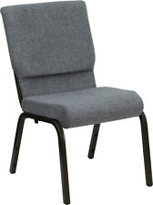 18.5'' W Gray Fabric Stacking Church Chair With - Gold Vein Frame