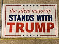 Donald Trump Flag FREE SHIPPING Trump 2020 Silent Majority Guns Sign Poster 3x5'