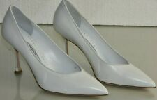 NEW Manolo Blahnik Leather White Pimps Heels BB Pointed Toe Shoes Wedding 40