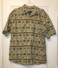 WOOLRICH CASUAL SHIRT, FISHING THEME, MENS SIZE LARGE