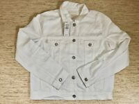 Women's American Eagle Outfitters AEO Destroyed Denim Jacket Medium White - New