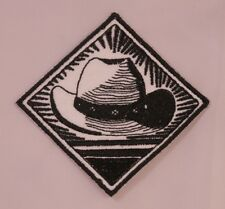 Embroidered Retro Black & White Western Classic Cowboy Hat Patch Iron On Sew USA
