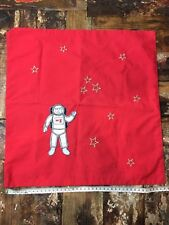 Embroidered Rocket Man Astronaut Gold Star Red Square Cushion Cover