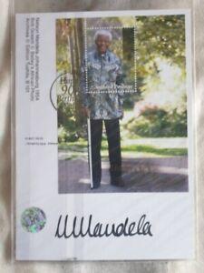 Nelson Mandela signed postcard - 90th birthday with coa