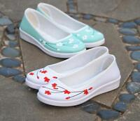 National Style Womens Prints Flower Slip On Casual Loafers Pumps Shoes US Size