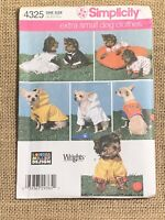 Simplicity 4325  Extra Small Dog Clothes Sewing Pattern Raincoat Dress Robe
